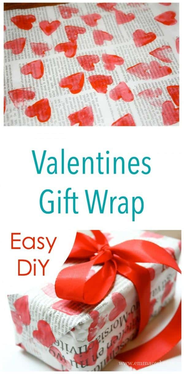 Make your own Heart Valentines Gift Wrap  - Great money saver and craft project!