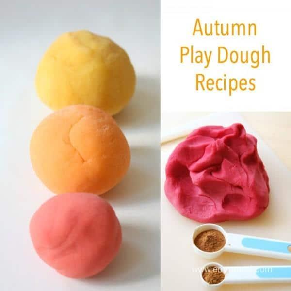 4 Autumn Play Dough Recipes - easy to make!
