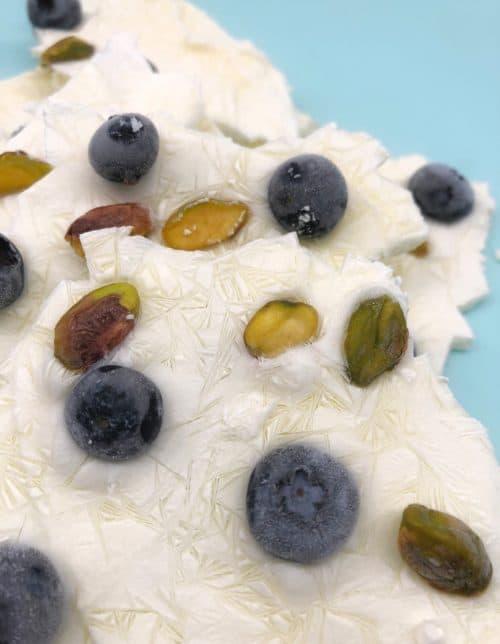 Frozen Blueberry & Pistachio Yoghurt Bark