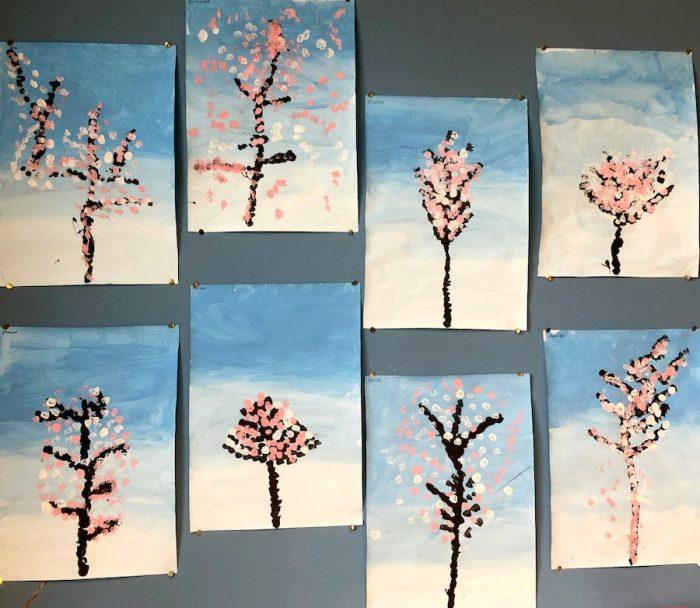 Painting Cherry Blossom Trees With Kids Emma Owl