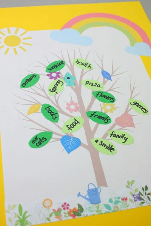 summer gratitude tree with free printables