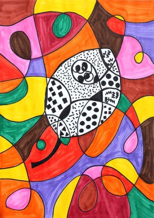 Fall Leaf Scribble Pattern Art