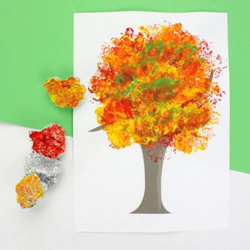 Fall Tree Art with Foil Printed Leaves