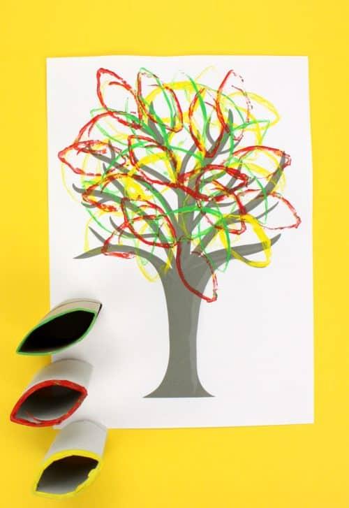 Cardboard Tube Fall Tree Art