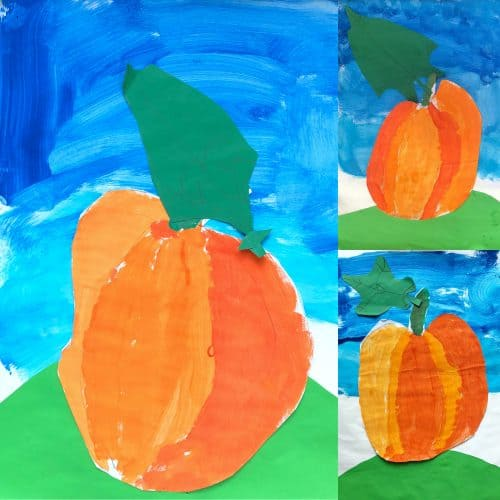 painting pumpkins with Children in the fall is such a wonderful seasonal art project!!