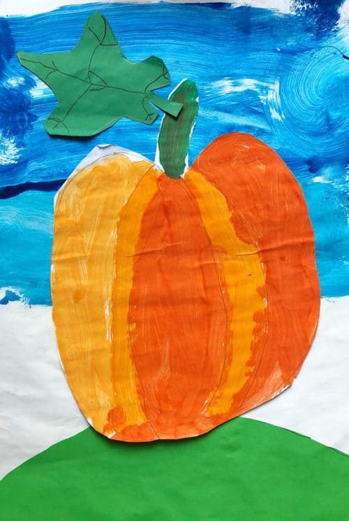painting pumpkins with Children