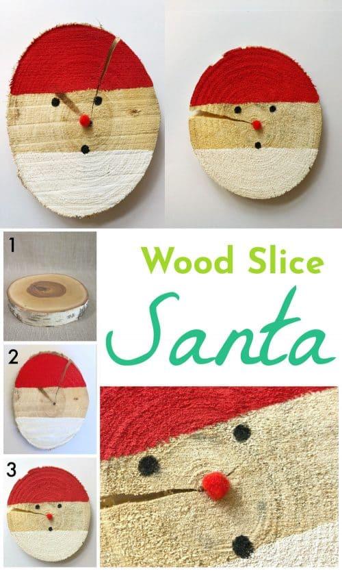 Wood Slice Santa