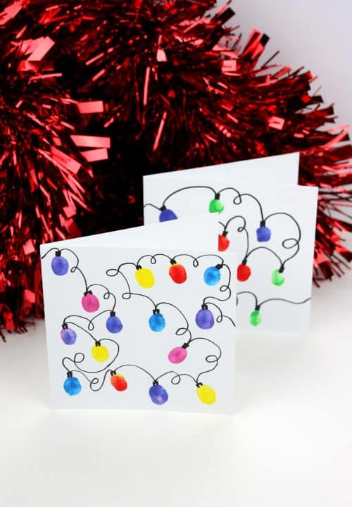 Fingerprint Christmas Lights Greeting Cards