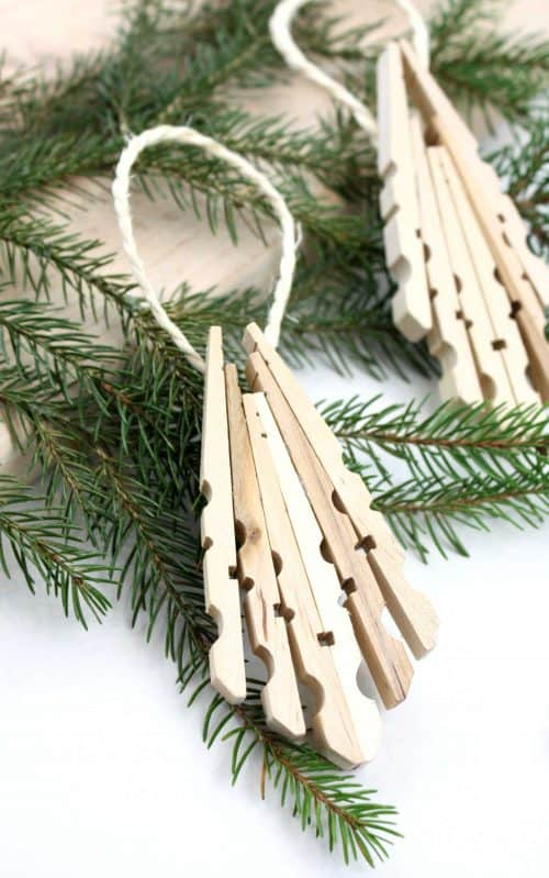 Natural Wooden Clothespin Christmas Tree Ornament