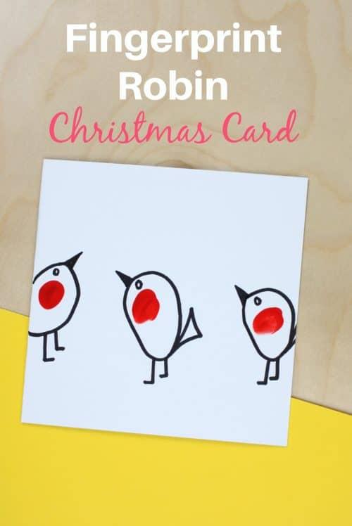 Fingerprint Robin Christmas Card