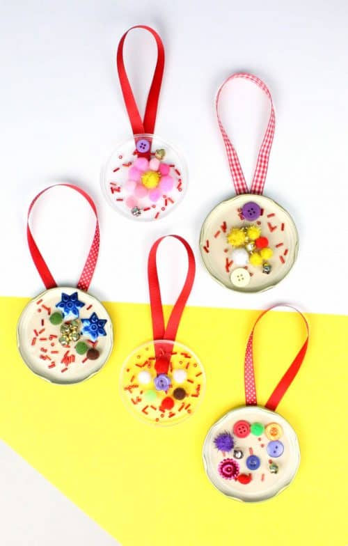 Recycled Jar Lid Ornaments