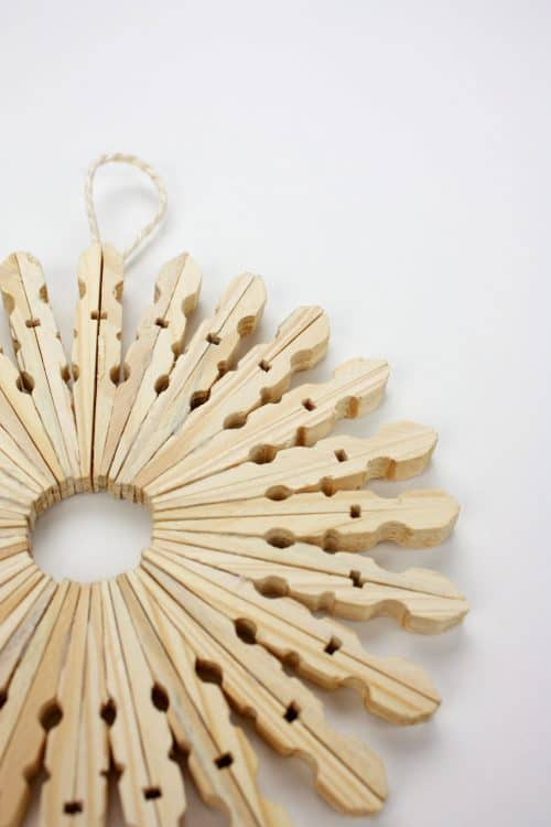 Wooden Clothespin Snowflake Decoration