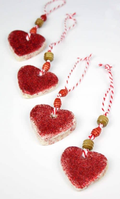 Beautiful hear-shaped salt dough Valentine's Day gifts