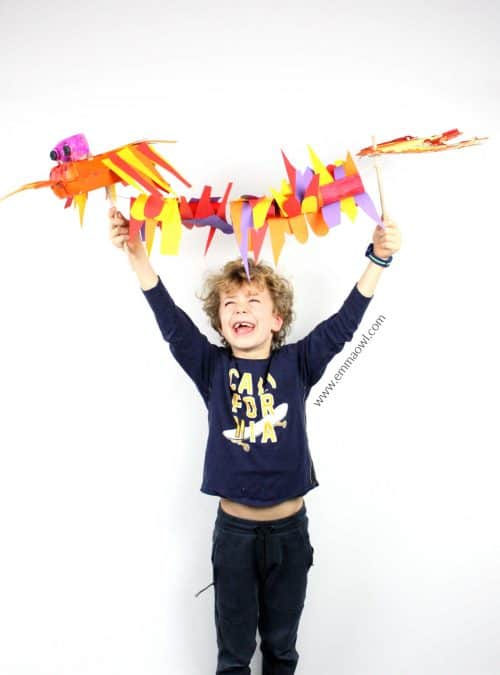 Moving Dragon Puppet made from Recycling