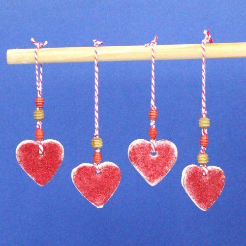 Heart-Shaped Salt Dough Hangers. The Perfect Valentine's Day Trinket.