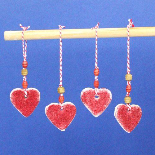 Heart-Shaped Salt Dough Hangers. The Perfect Valentine's Day Trinket.
