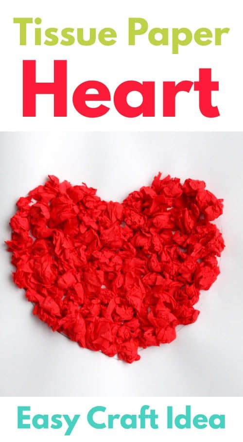 Scrunched Tissue Paper Heart Art. Easy Craft idea for kids
