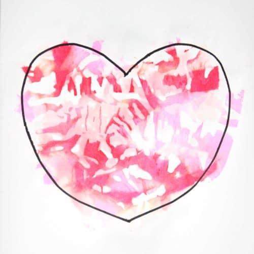 Tissue Paper Watercolor Heart