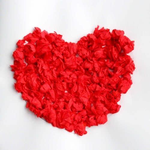 Scrunched Tissue Paper Heart Art