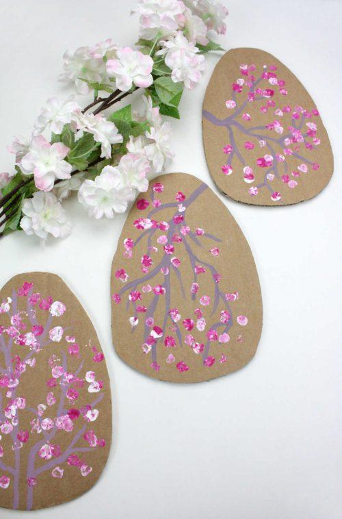 Cardboard Cherry Blossom Easter Eggs