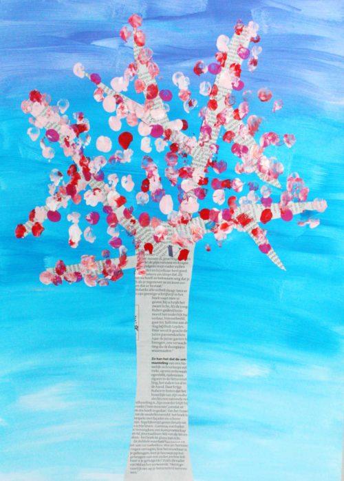 Cherry Tree Art with Newsprint